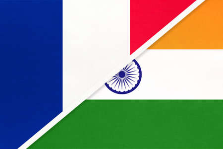 French Republic or France and India, symbol of two national flags from textile. Relationship, partnership and championship between European and Asian countries. Archivio Fotografico - 151447073