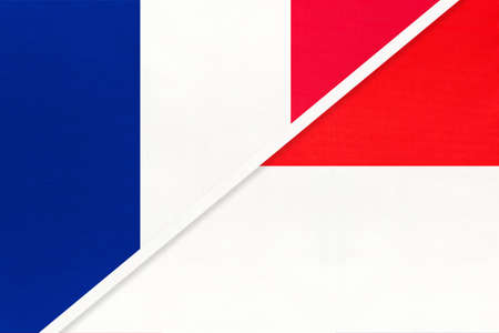 French Republic or France and Indonesia, symbol of two national flags from textile. Relationship, partnership and championship between European and Asian countries.