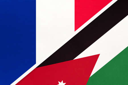 French Republic or France and Jordan, symbol of two national flags from textile. Relationship, partnership and championship between European and Asian countries.