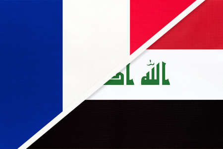 French Republic or France and Iraq, symbol of two national flags from textile. Relationship, partnership and championship between European and Asian countries.