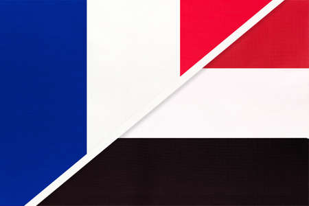 French Republic or France and Yemen, symbol of two national flags from textile. Relationship, partnership and championship between European and Asian countries. Archivio Fotografico - 151447078