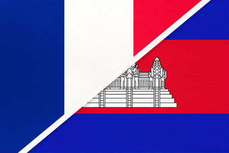 French Republic or France and Cambodia or Kampuchea, symbol of two national flags from textile. Relationship, partnership and championship between European and Asian countries. Archivio Fotografico - 151447079