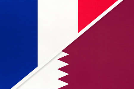 French Republic or France and Qatar, symbol of two national flags from textile. Relationship, partnership and championship between European and Asian countries.