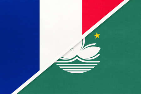 French Republic or France and Macau or Macao, symbol of two national flags from textile. Relationship, partnership and championship between European and Asian countries. Archivio Fotografico - 151447082