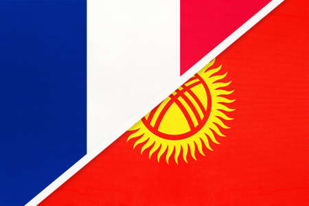 French Republic or France and Kyrgyzstan or Kyrgyz Republic, symbol of two national flags from textile. Relationship, partnership and championship between European and Asian countries. Archivio Fotografico - 151447083