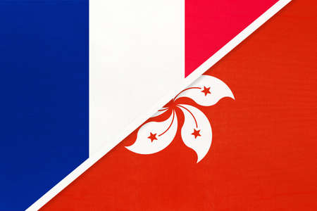 French Republic or France and Hong Kong, symbol of two national flags from textile. Relationship, partnership and championship between European and Asian countries. Archivio Fotografico - 151447084