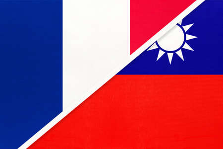 French Republic or France and Taiwan or Republic of China, symbol of two national flags from textile. Relationship, partnership and championship between European and Asian countries. Archivio Fotografico