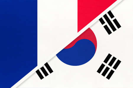 French Republic or France and South Korea or ROK, symbol of two national flags from textile. Relationship, partnership and championship between European and Asian countries.