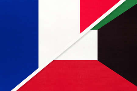 French Republic or France and Kuwait, symbol of two national flags from textile. Relationship, partnership and championship between European and Asian countries. Archivio Fotografico