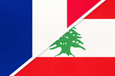 French Republic or France and Lebanon or Lebanese Republic, symbol of two national flags from textile. Relationship, partnership and championship between European and Asian countries. Archivio Fotografico - 151452599
