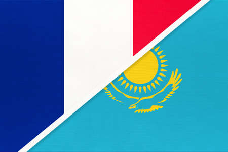 French Republic or France and Kazakhstan, symbol of two national flags from textile. Relationship, partnership and championship between European and Asian countries.