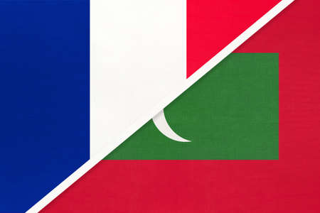 French Republic or France and Maldives, symbol of two national flags from textile. Relationship, partnership and championship between European and Asian countries. Archivio Fotografico - 151452604