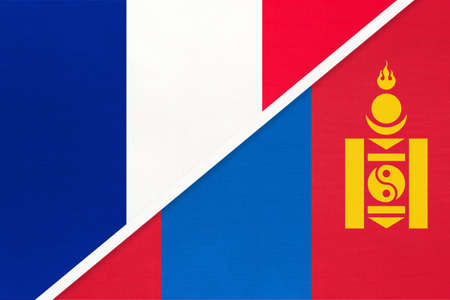 French Republic or France and Mongolia, symbol of two national flags from textile. Relationship, partnership and championship between European and Asian countries.