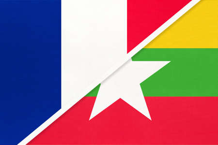 French Republic or France and Myanmar or Burma, symbol of two national flags from textile. Relationship, partnership and championship between European and Asian countries. Archivio Fotografico