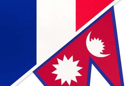 French Republic or France and Nepal, symbol of two national flags from textile. Relationship, partnership and championship between European and Asian countries. Archivio Fotografico - 151452608