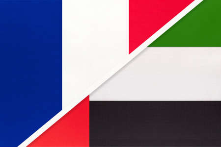 French Republic or France and United Arab Emirates or UAE, symbol of two national flags from textile. Relationship, partnership and championship between European and Asian countries. Archivio Fotografico - 151452610