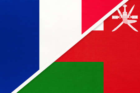 French Republic or France and Sultanate of Oman, symbol of two national flags from textile. Relationship, partnership and championship between European and Asian countries.
