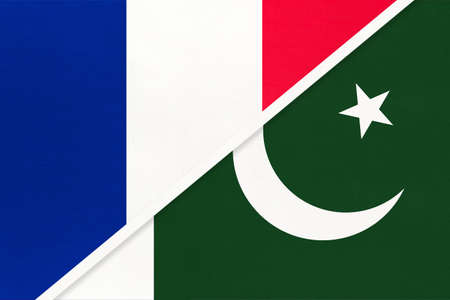 French Republic or France and Pakistan, symbol of two national flags from textile. Relationship, partnership and championship between European and Asian countries.