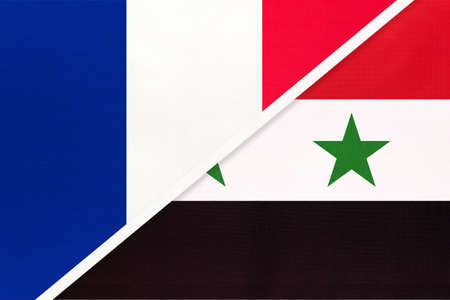 French Republic or France and Syrian Arab Republic or Syria, symbol of two national flags from textile. Relationship, partnership and championship between European and Asian countries. Archivio Fotografico