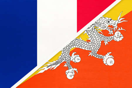 French Republic or France and Bhutan, symbol of two national flags from textile. Relationship, partnership and championship between European and Asian countries. Archivio Fotografico - 151452771