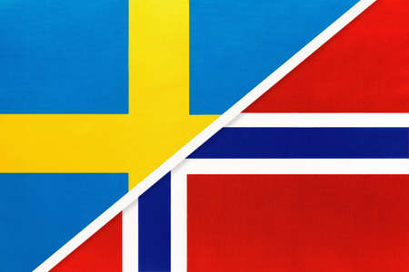 Kingdom of Sweden and Norway, symbol of national flags from textile. Relationship, partnership and championship between two European countries.