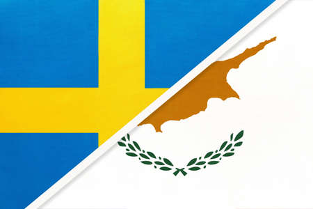 Kingdom of Sweden and Cyprus, symbol of national flags from textile. Relationship, partnership and championship between two European countries. Imagens