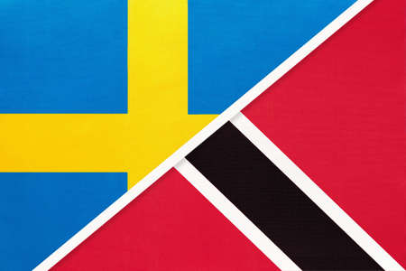 Kingdom of Sweden and Trinidad and Tobago, symbol of national flags from textile. Relationship, partnership and championship between European and American countries.