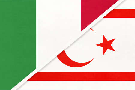 Italy or Italian Republic and Northern Cyprus or TRNC, symbol of two national flags from textile. Relationship, partnership and championship between Asian and European countries. Imagens