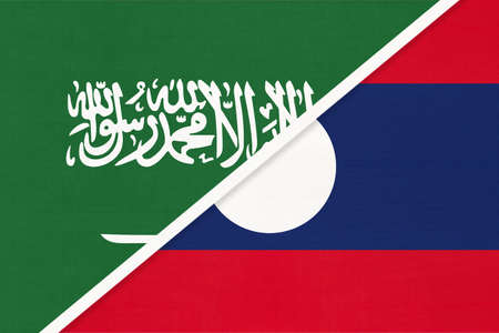 Saudi Arabia and Laos, symbol of national flags from textile. Relationship, partnership and championship between two Asian countries.