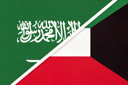 Saudi Arabia and Kuwait, symbol of national flags from textile. Relationship, partnership and championship between two Asian countries.