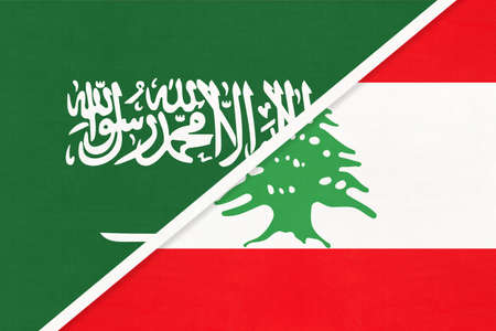 Saudi Arabia and Lebanon or Lebanese Republic, symbol of national flags from textile. Relationship, partnership and championship between two Asian countries.