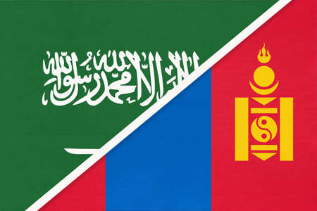 Saudi Arabia and Mongolia, symbol of national flags from textile. Relationship, partnership and championship between two Asian countries.