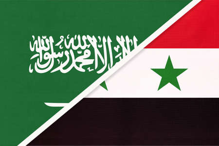 Saudi Arabia and Syrian Arab Republic or Syria, symbol of national flags from textile. Relationship, partnership and championship between two Asian countries.