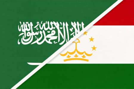 Saudi Arabia and Tajikistan, symbol of national flags from textile. Relationship, partnership and championship between two Asian countries.