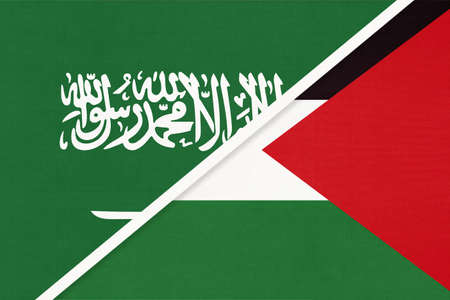 Saudi Arabia and Palestine, symbol of national flags from textile. Relationship, partnership and championship between two Asian countries.