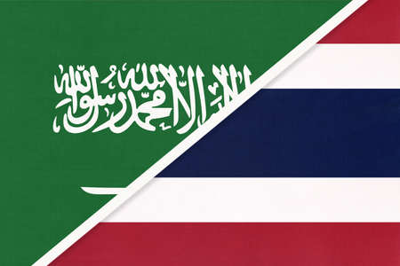 Saudi Arabia and Thailand or Siam, symbol of national flags from textile. Relationship, partnership and championship between two Asian countries.