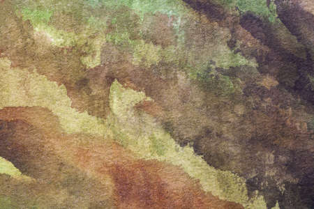 Abstract art background light green and brown colors. Watercolor painting on canvas with soft olive gradient. Fragment of artwork on paper with khaki pattern. Texture backdrop.
