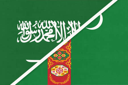 Saudi Arabia and Turkmenistan or Turkmenia, symbol of national flags from textile. Relationship, partnership and championship between two Asian countries.