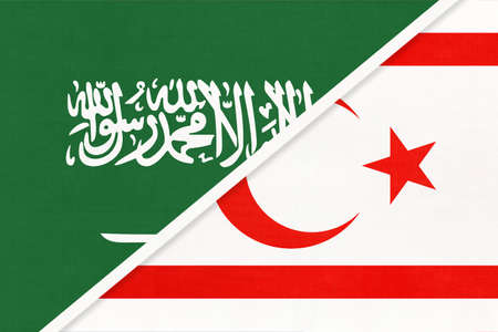 Saudi Arabia and Northern Cyprus or TRNC, symbol of national flags from textile. Relationship, partnership and championship between two Asian countries.