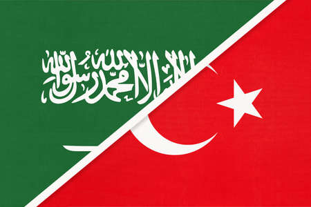 Saudi Arabia and Turkey, symbol of national flags from textile. Relationship, partnership and championship between two Asian countries.