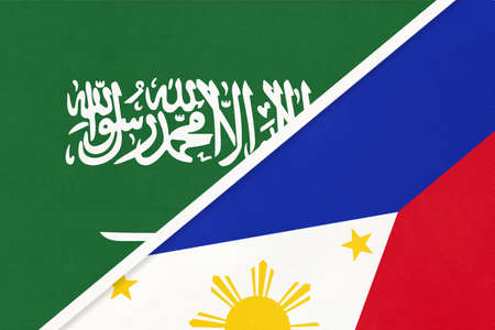 Saudi Arabia and Philippines, symbol of national flags from textile. Relationship, partnership and championship between two Asian countries.