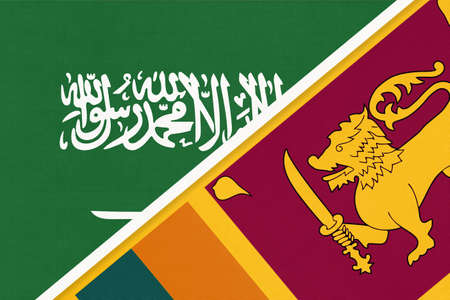 Saudi Arabia and Sri Lanka, symbol of national flags from textile. Relationship, partnership and championship between two Asian countries. 版權商用圖片