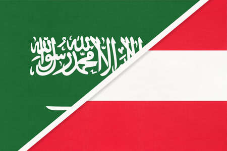 Saudi Arabia and Austria, symbol of two national flags from textile. Relationship, partnership and championship between Asian and European countries.
