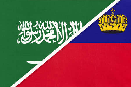 Saudi Arabia and Liechtenstein, symbol of two national flags from textile. Relationship, partnership and championship between Asian and European countries.
