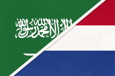 Saudi Arabia and Netherlands or Holland, symbol of two national flags from textile. Relationship, partnership and championship between Asian and European countries.