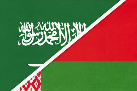 Saudi Arabia and Belarus, symbol of two national flags from textile. Relationship, partnership and championship between Asian and European countries.