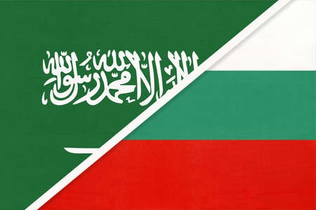 Saudi Arabia and Bulgaria, symbol of two national flags from textile. Relationship, partnership and championship between Asian and European countries.
