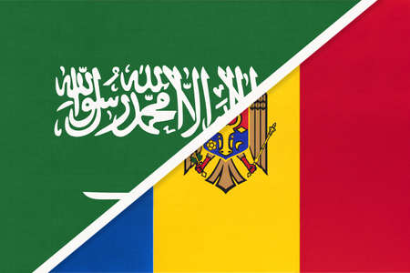 Saudi Arabia and Moldova, symbol of two national flags from textile. Relationship, partnership and championship between Asian and European countries.