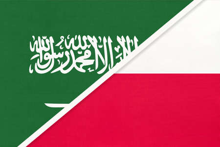 Saudi Arabia and Poland, symbol of two national flags from textile. Relationship, partnership and championship between Asian and European countries. 版權商用圖片
