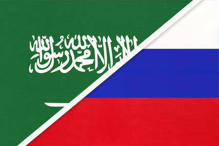 Saudi Arabia and Russia or Russian Federation, symbol of two national flags. Relationship, partnership and championship between Asian and European countries.